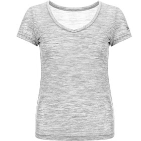 super.natural Base 140 V-Neck Tee Women, ash melange/pomegranate